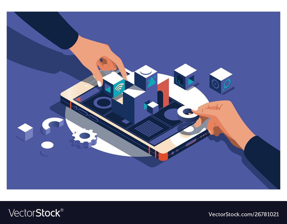 Designer building website ux app development