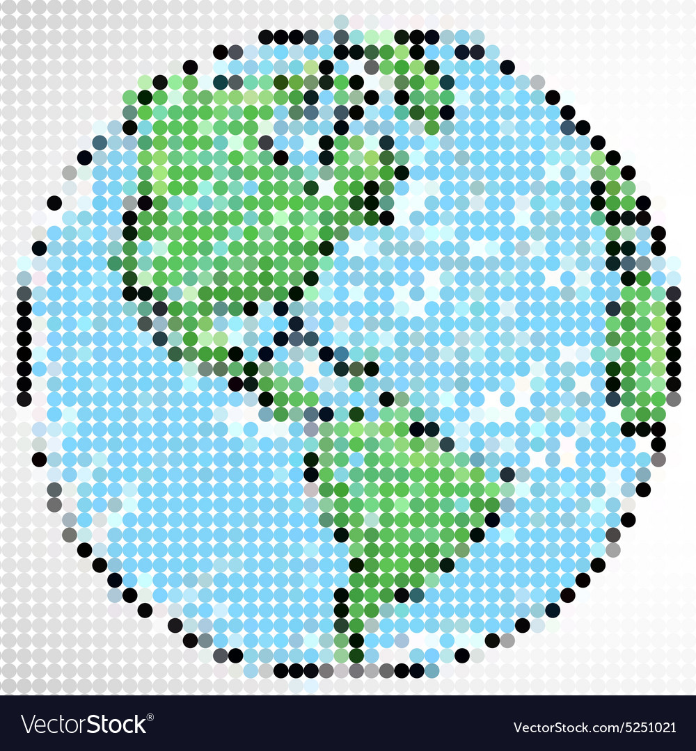 Dot pattern of the world on white background