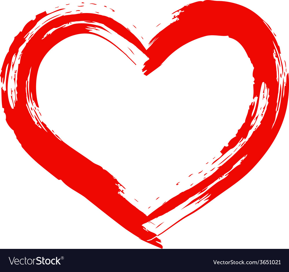 dry brush painted heart royalty free vector image rh vectorstock com heart vector outline heart vectors for corel draw