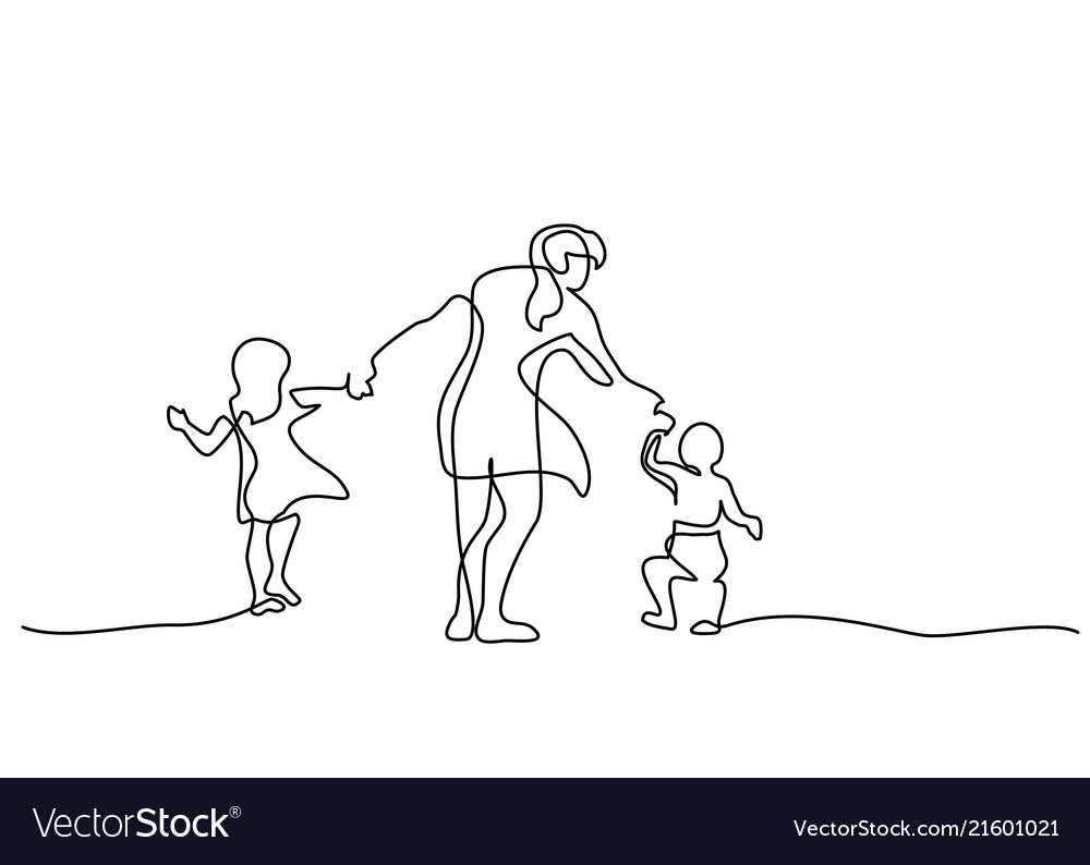 Family concept mother walking with small children