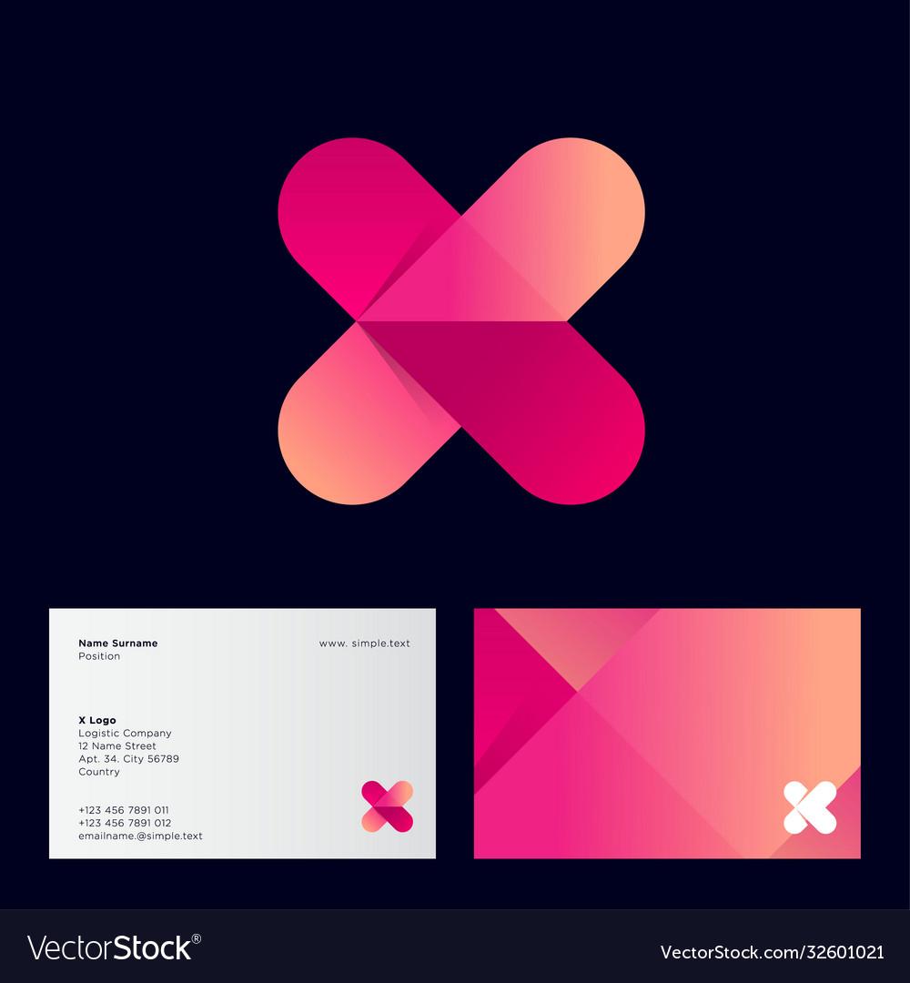 Gradient x monogram letter x with arrow logo