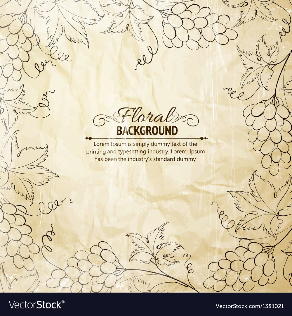Grapes frame over old paper vector image