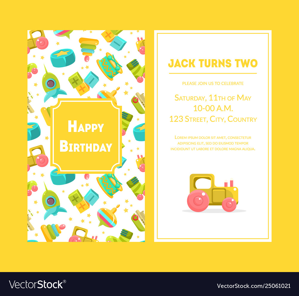 Happy birthday greeting card yellow party