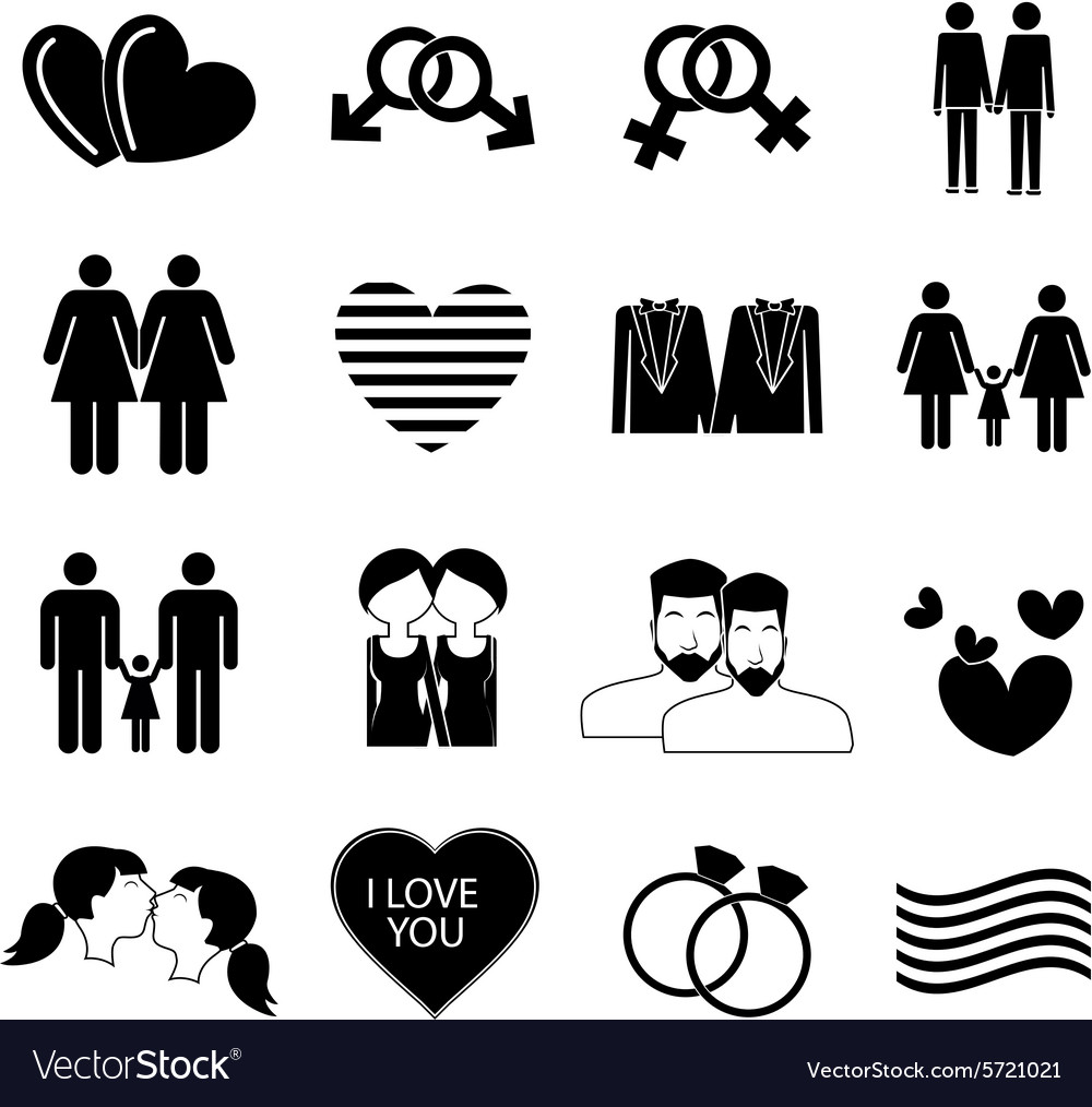 Homosexual gay icons set vector image
