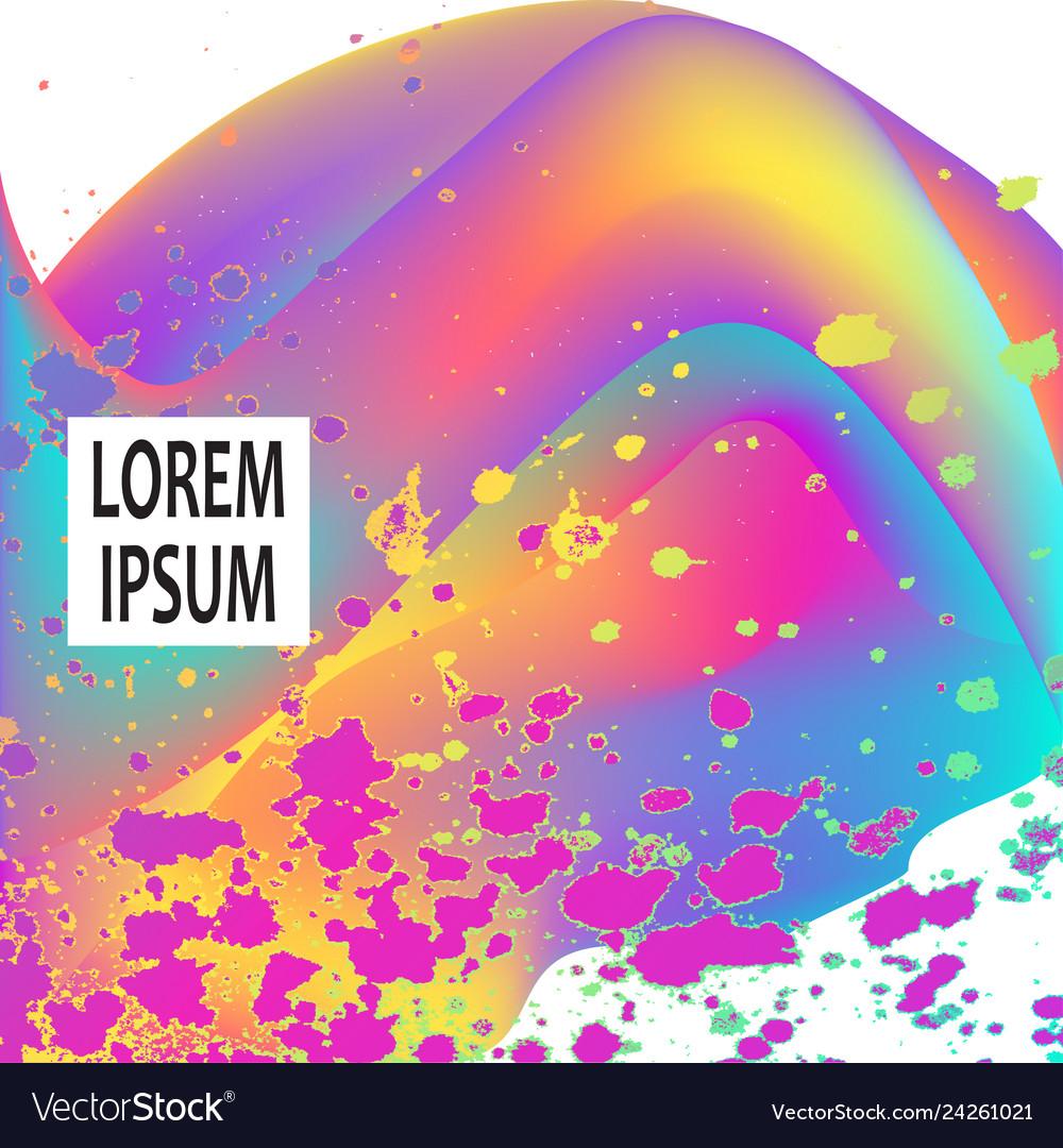 Neon fluid paint splatter artistic template