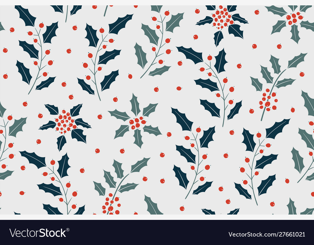 New year pattern with holly berry