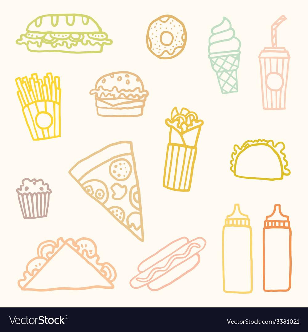Outline astfood cartoon set