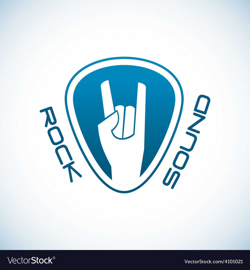 Rock hand logo template with plectrum shape