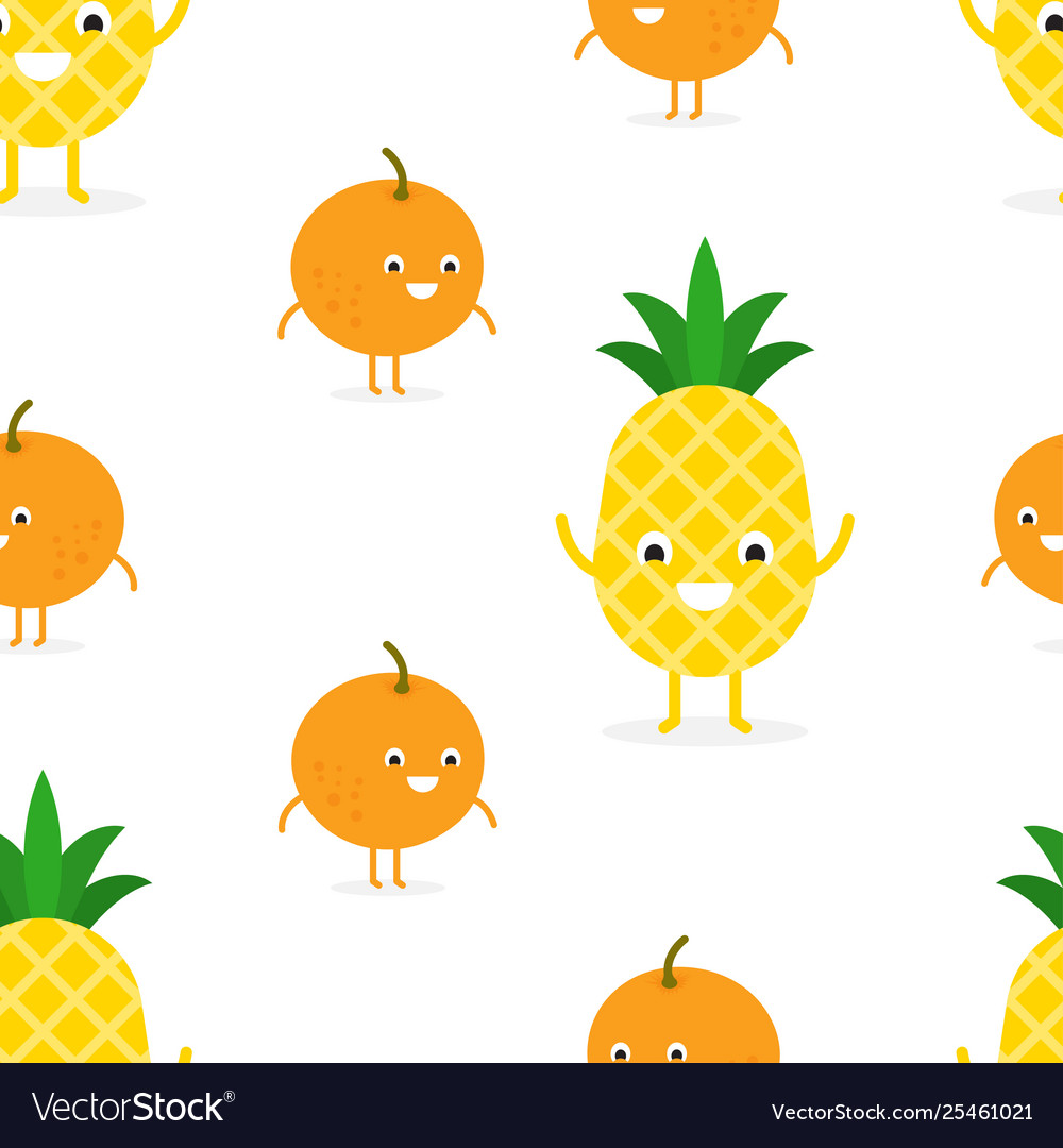Seamless pattern with funny happy pineapple