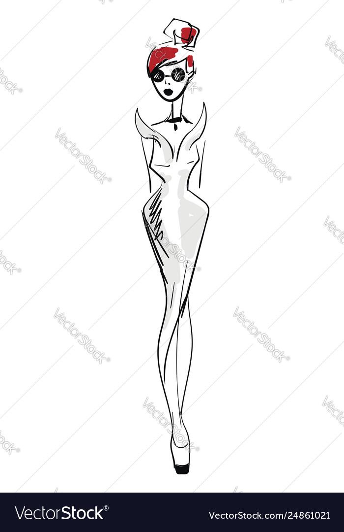 Woman in long elegant evening dress basic rgb on