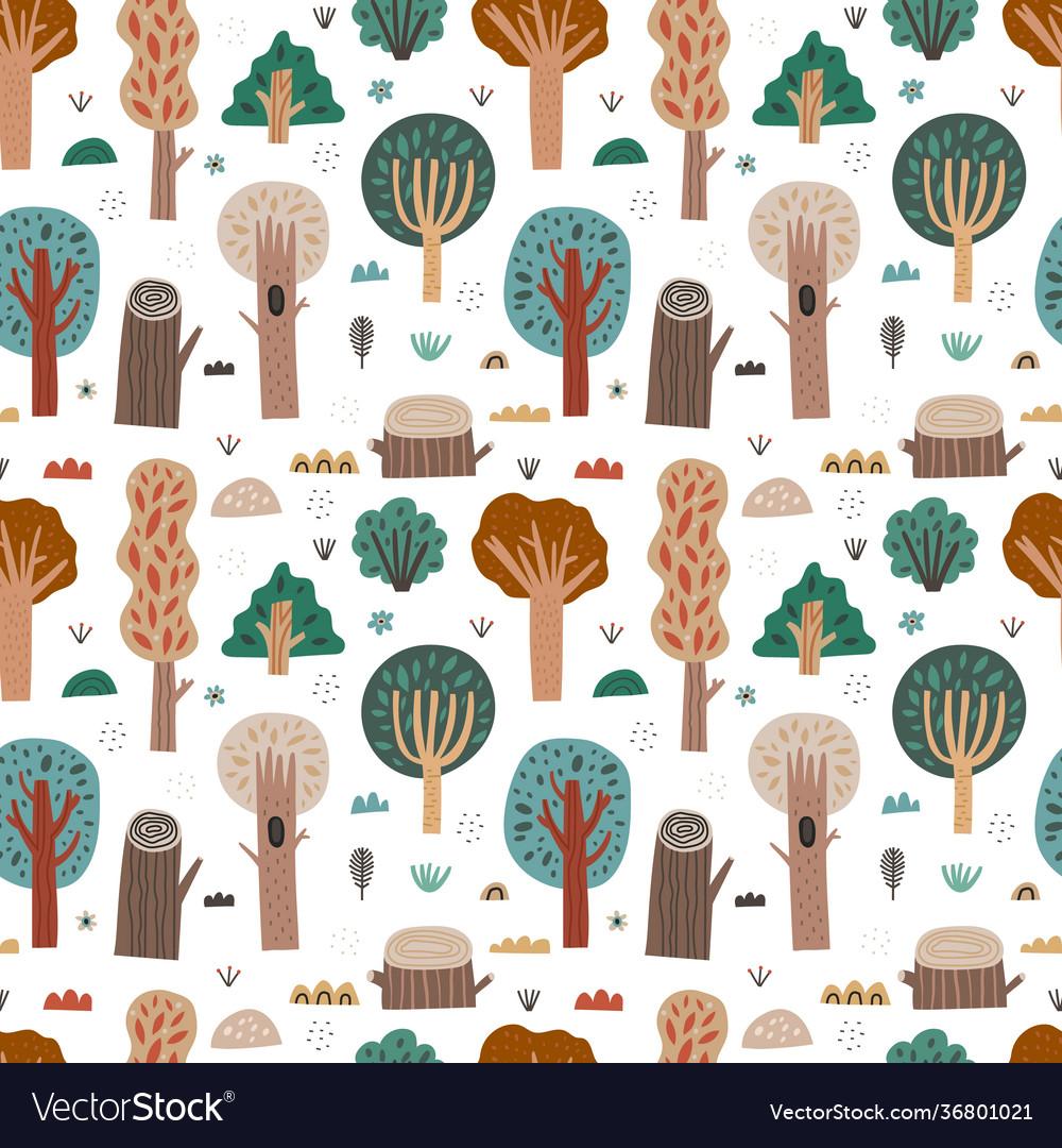 Woodland seamless pattern cartoon forest