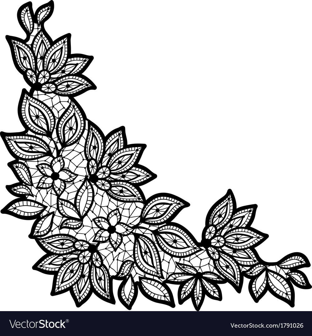 Black And Lace Floral Design Isolated On White Vector Image