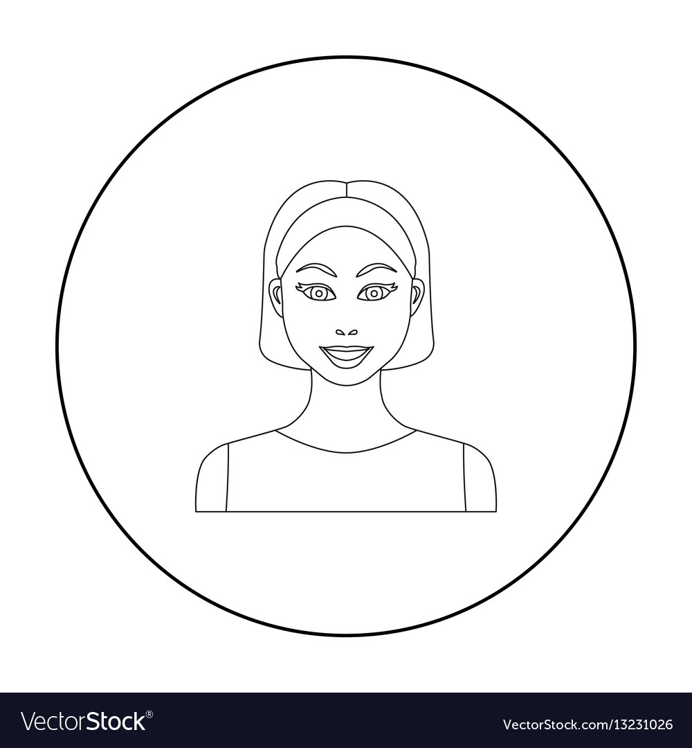 Black hair woman icon in outline style isolated on