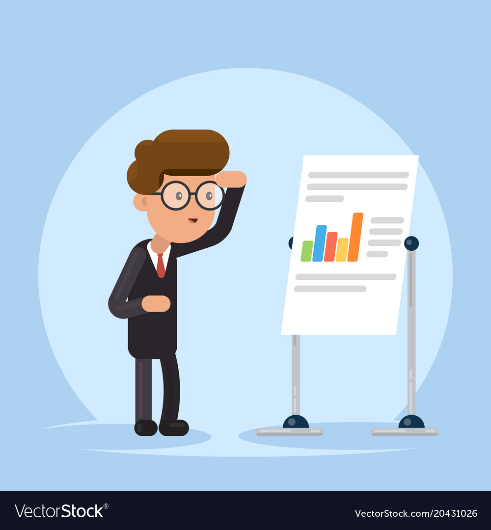 Businessman or manager look to flip chart concept vector image