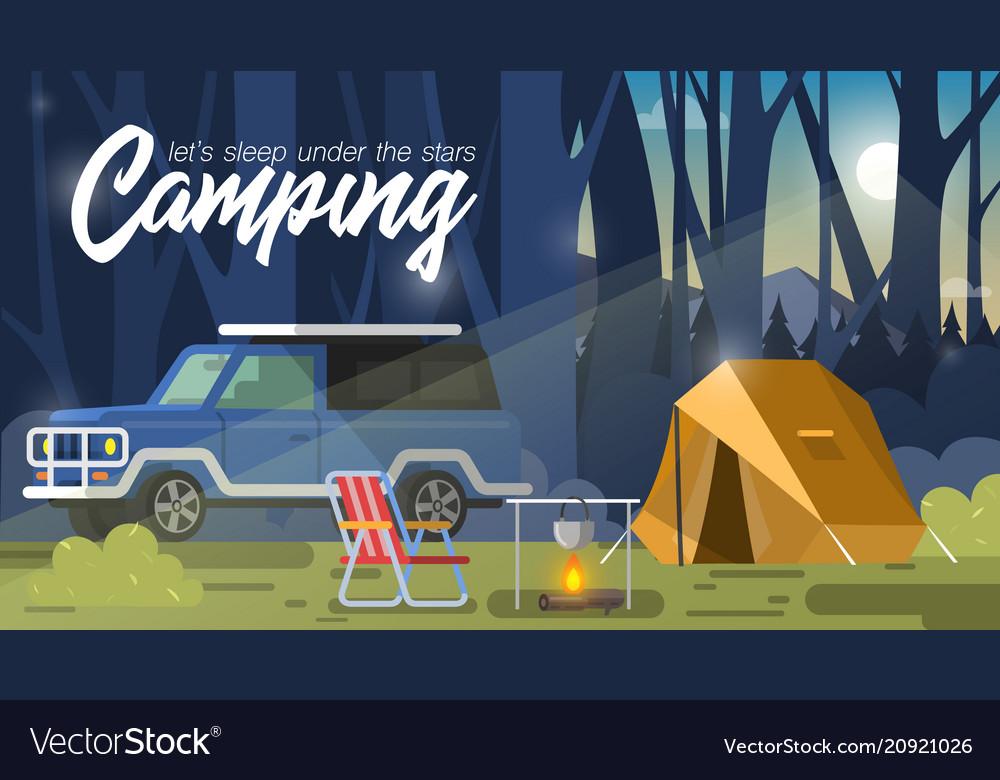 Camping tent and bonfire