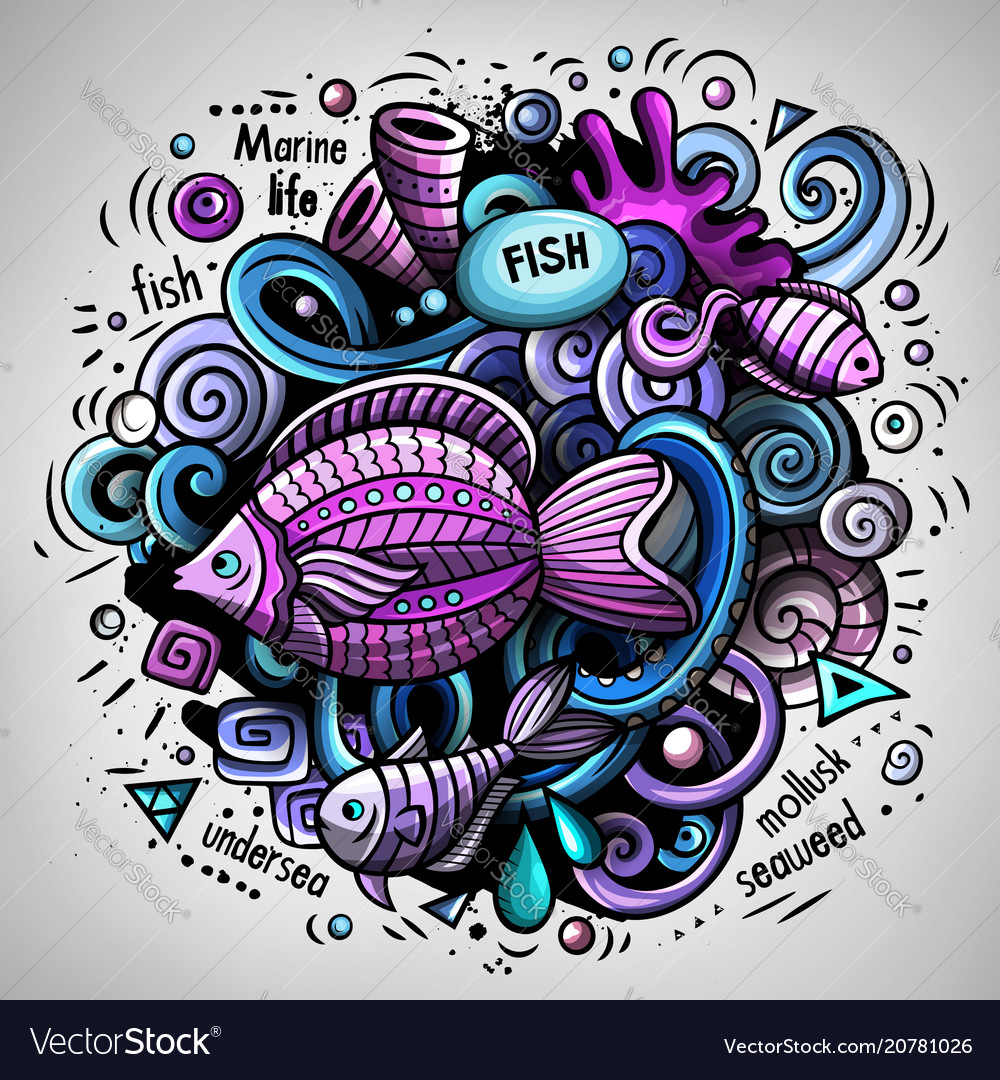 Cartoon doodles underwater world