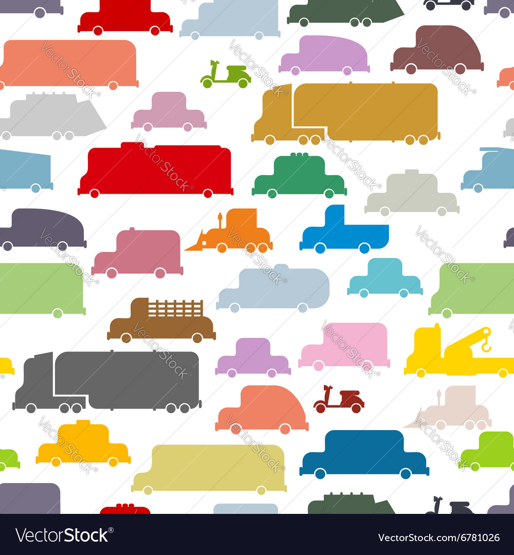 Colorful cars seamless pattern Lovely texture from