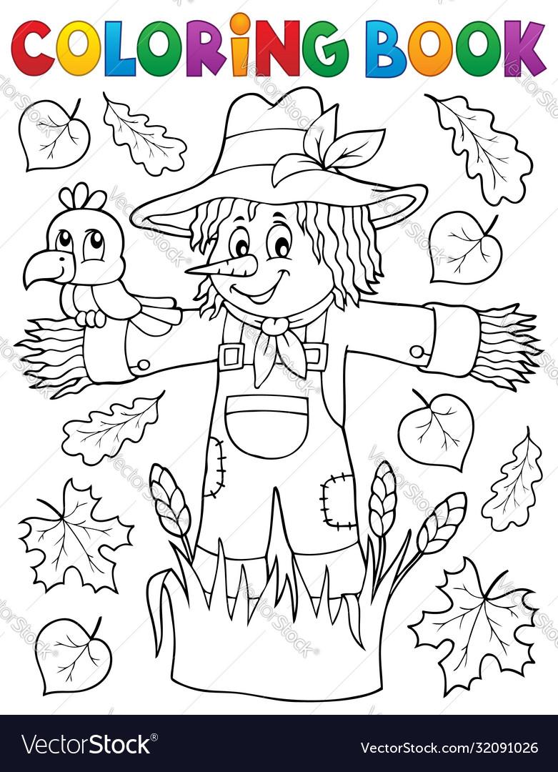 Coloring book scarecrow theme 1