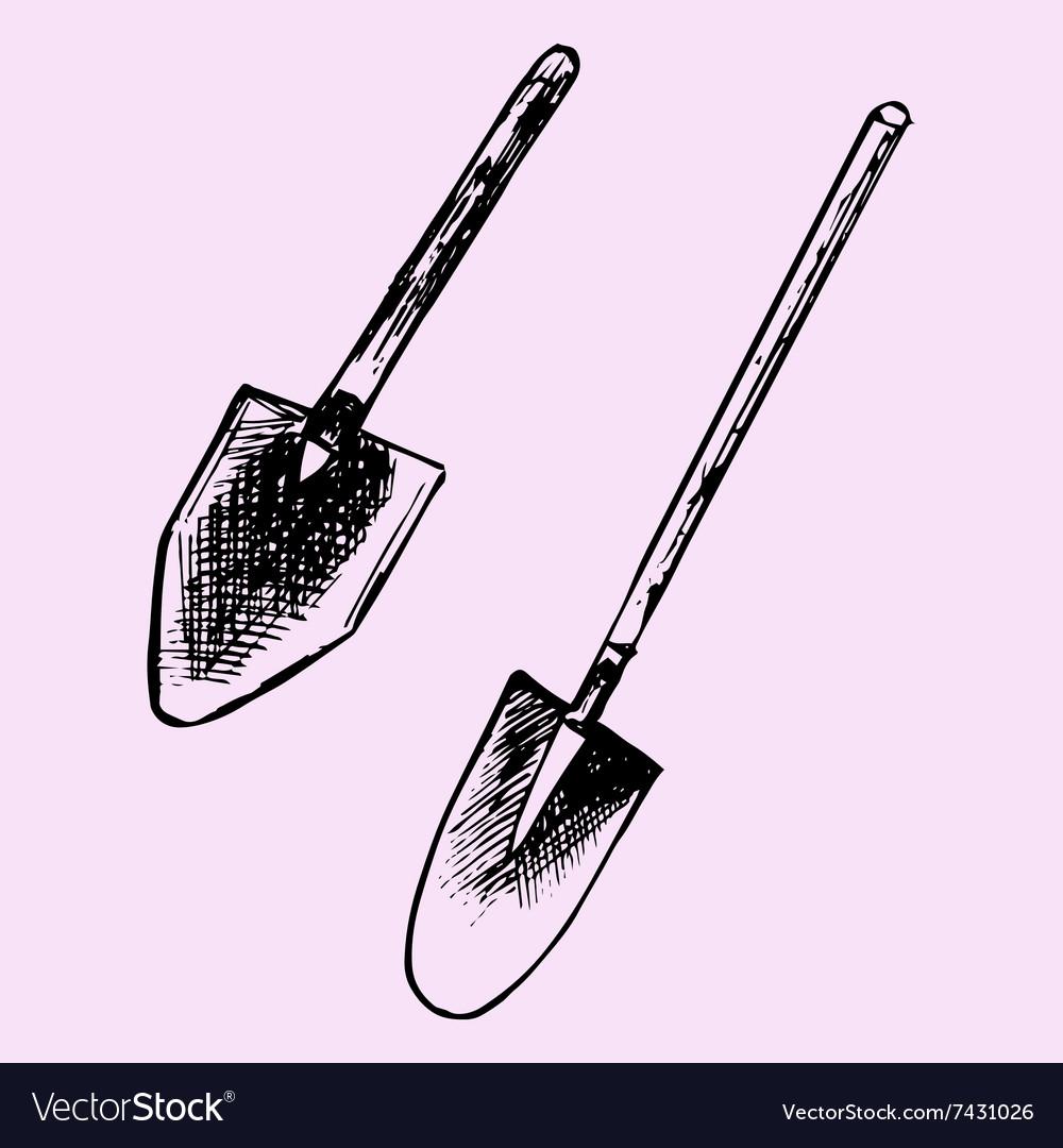 Garden Spades Shovel Vector Image