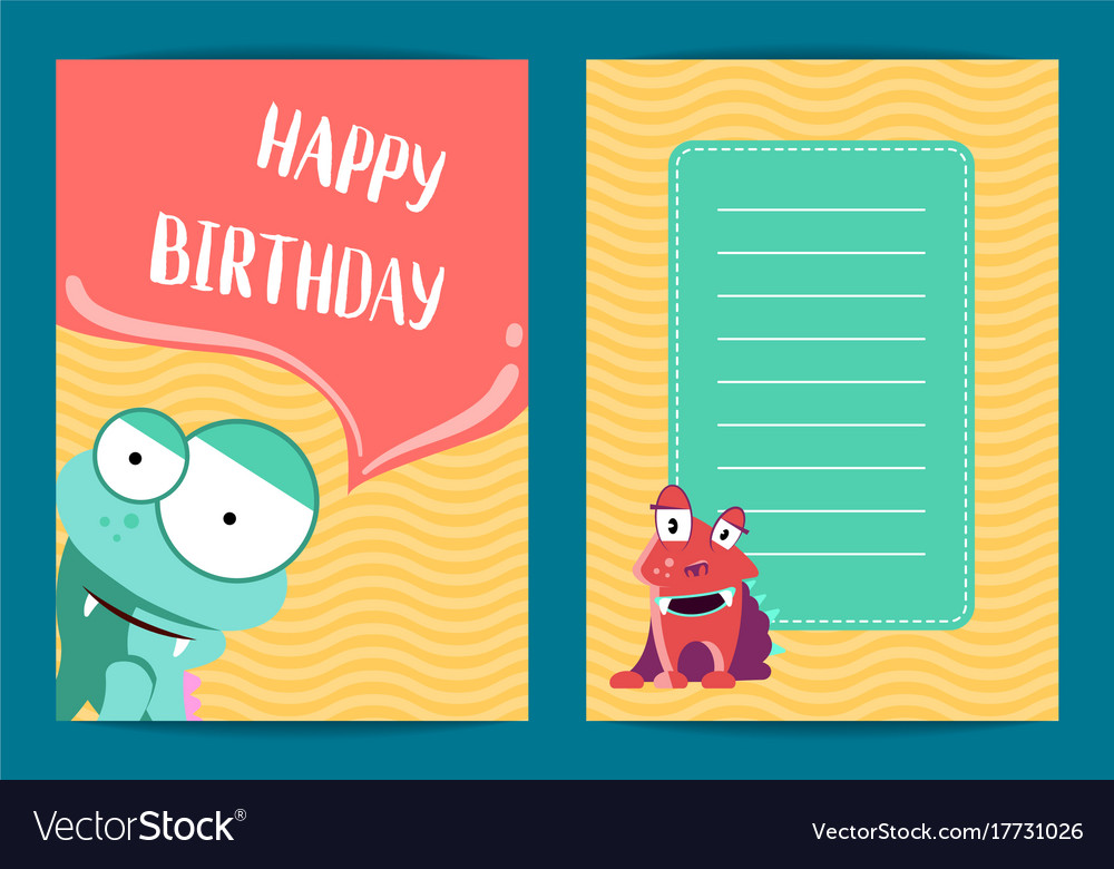 Happy birthday card template with cute