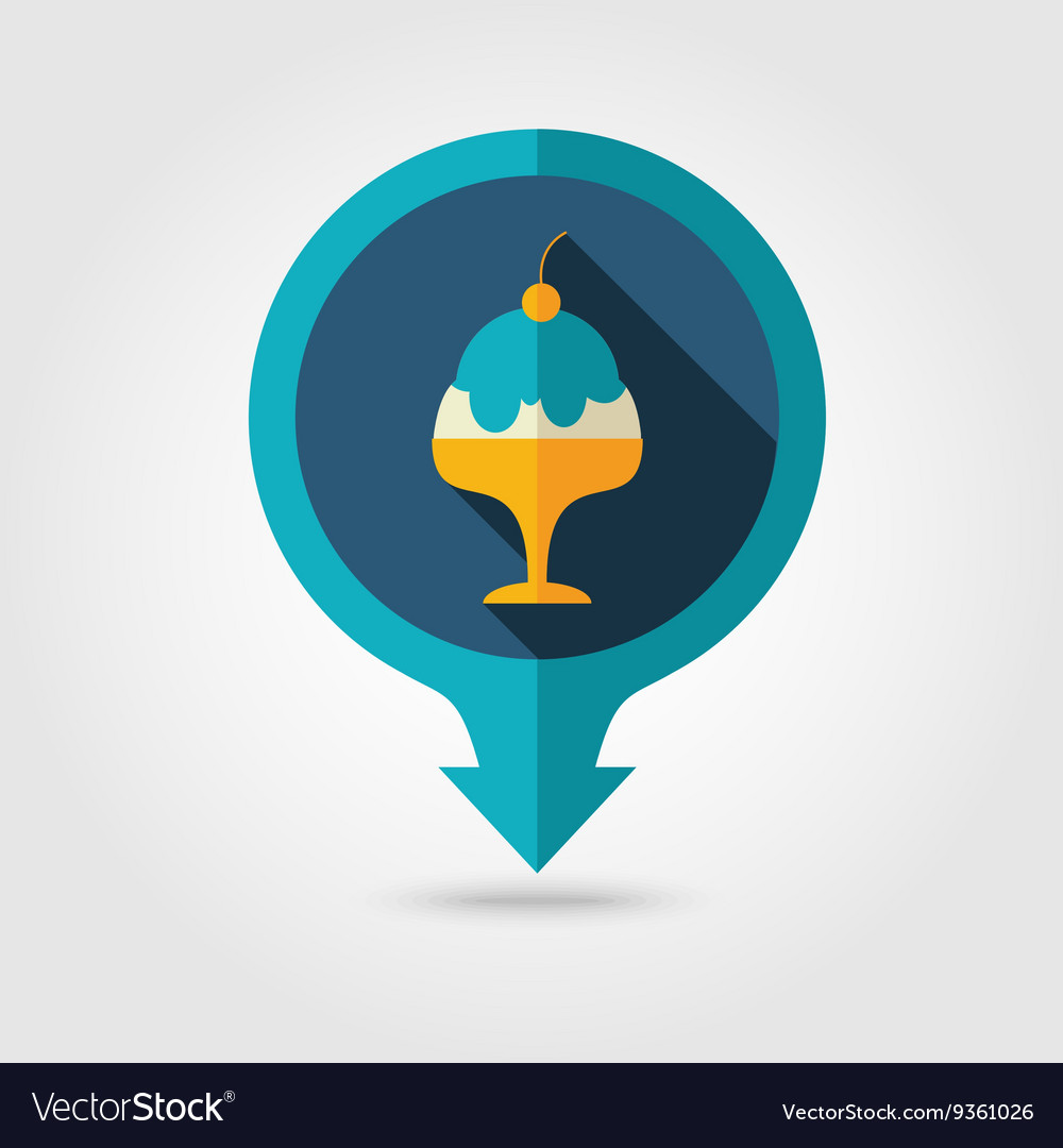 Ice Cream pin map flat icon Summer Vacation vector image