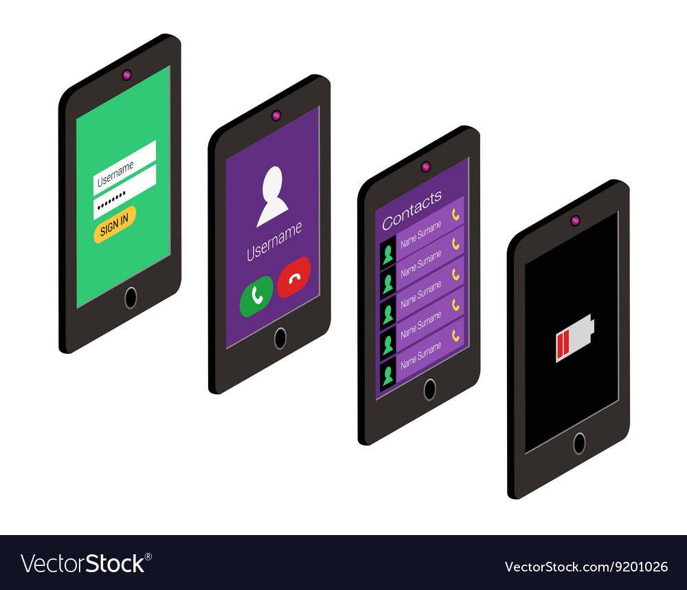 Isometric icon set of mobile phone in flat style