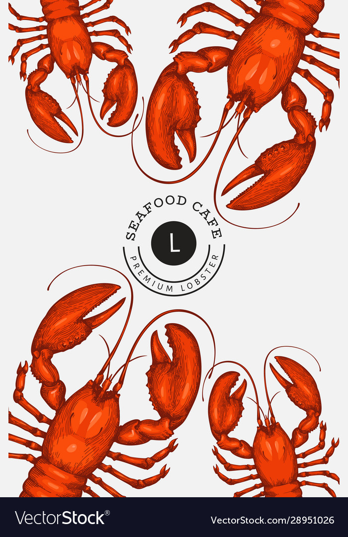 Lobster colored banner hand drawn seafood