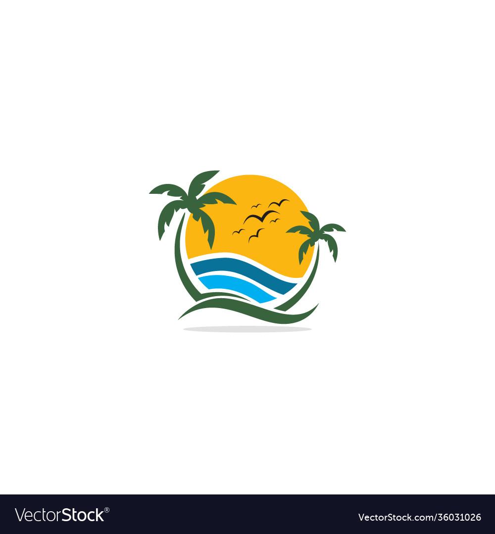 Palm tree beach tropic nature logo
