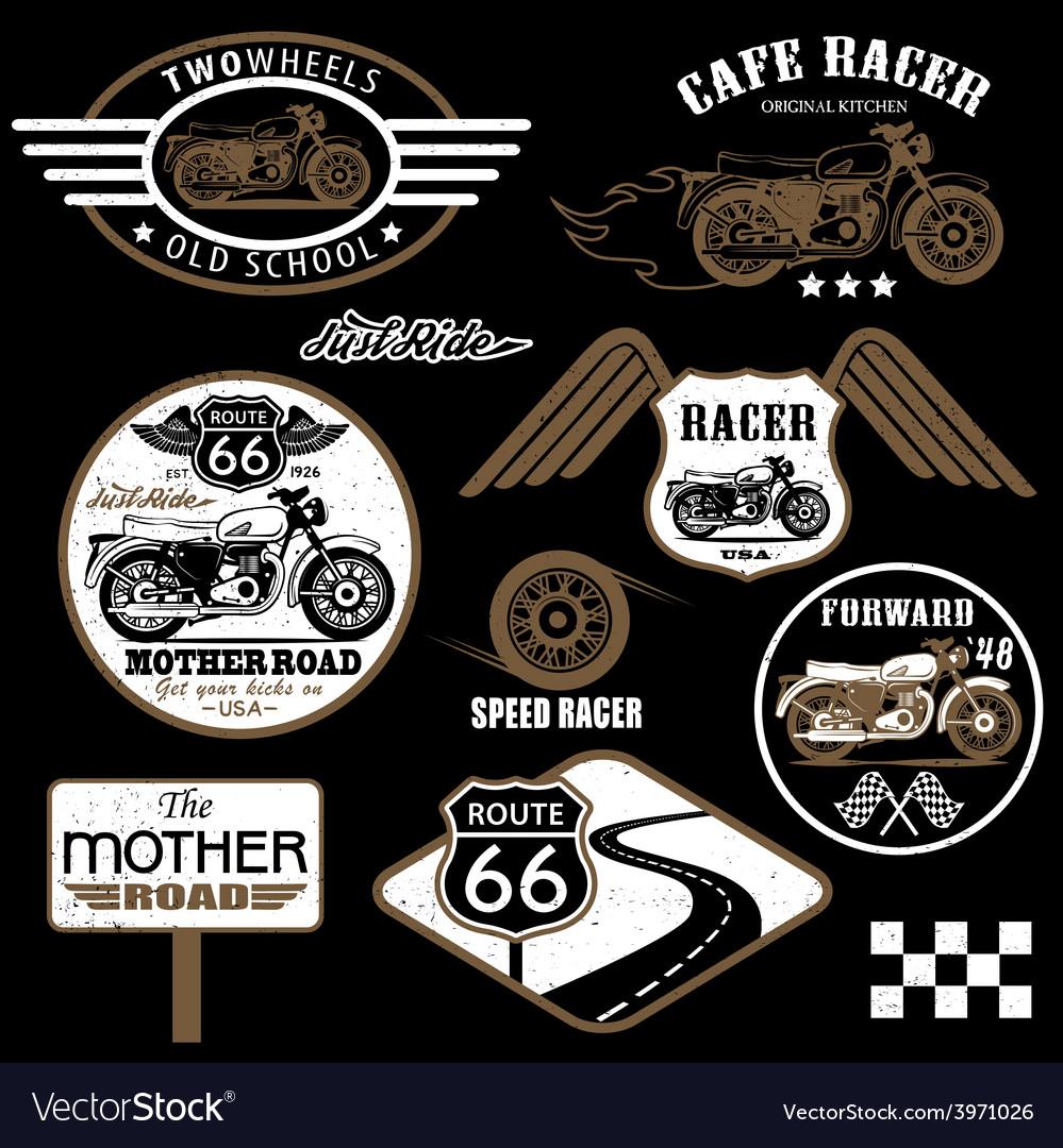 Set of vintage motorcycle badges