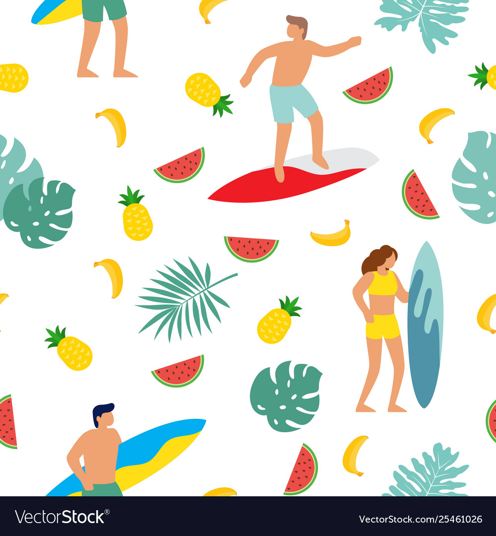 Summer beach seamless pattern people having fun