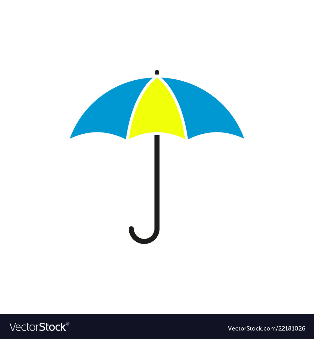 3551a213c Umbrella in the blue yellow colour icon Royalty Free Vector