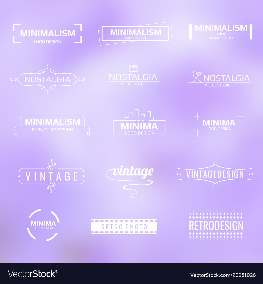 White minimal modern logos vintage labels