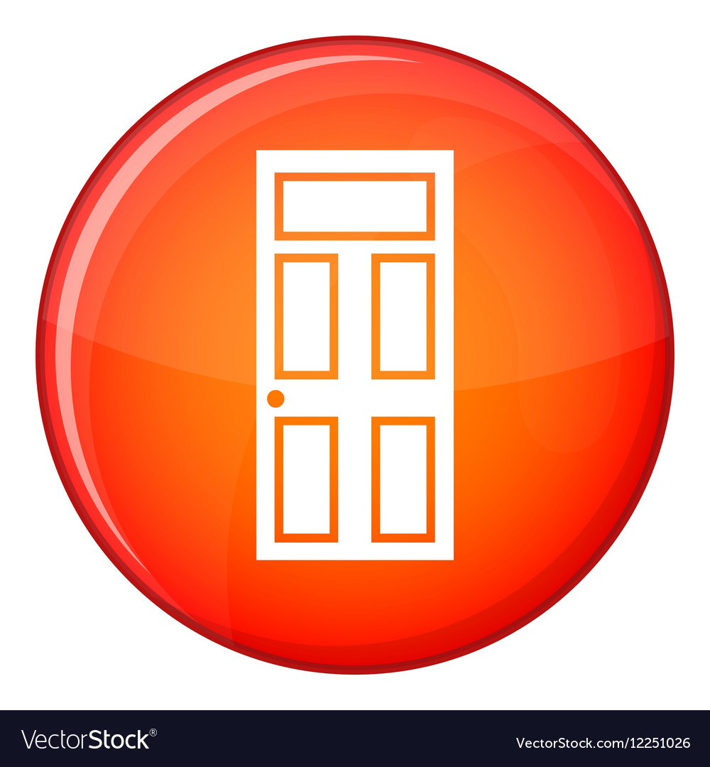 Wooden door with glass icon flat style