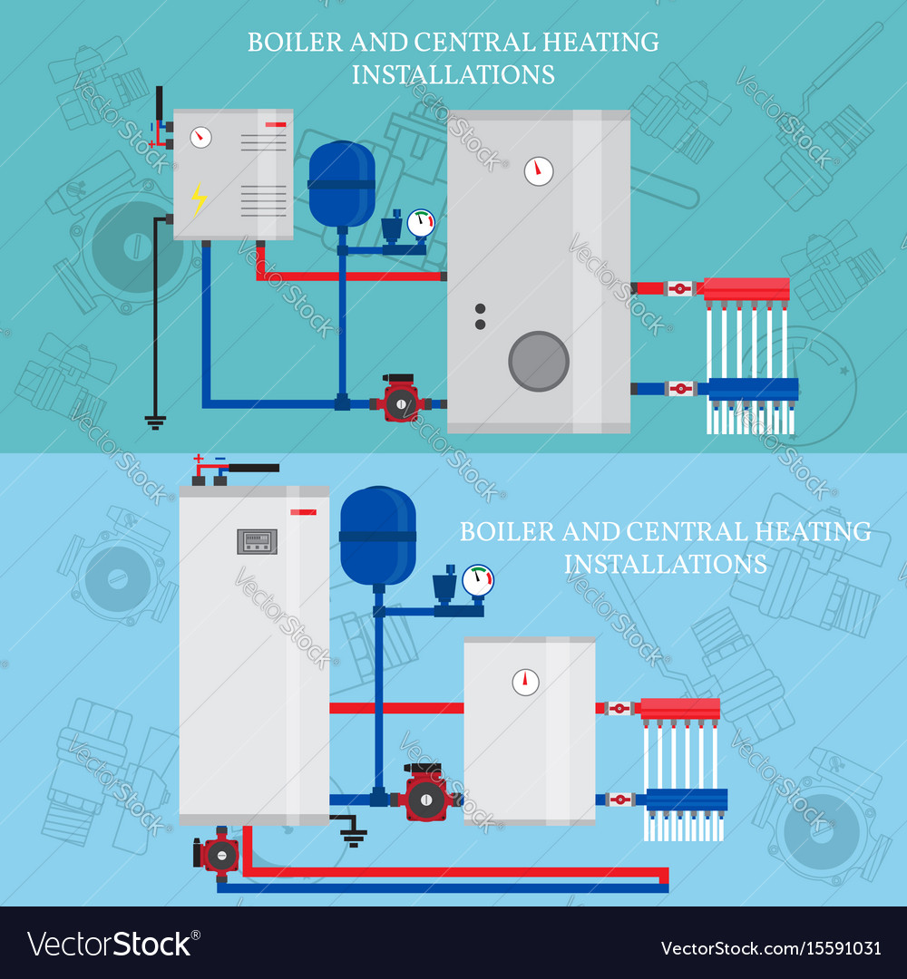 Boiler and central heating installations flat Vector Image