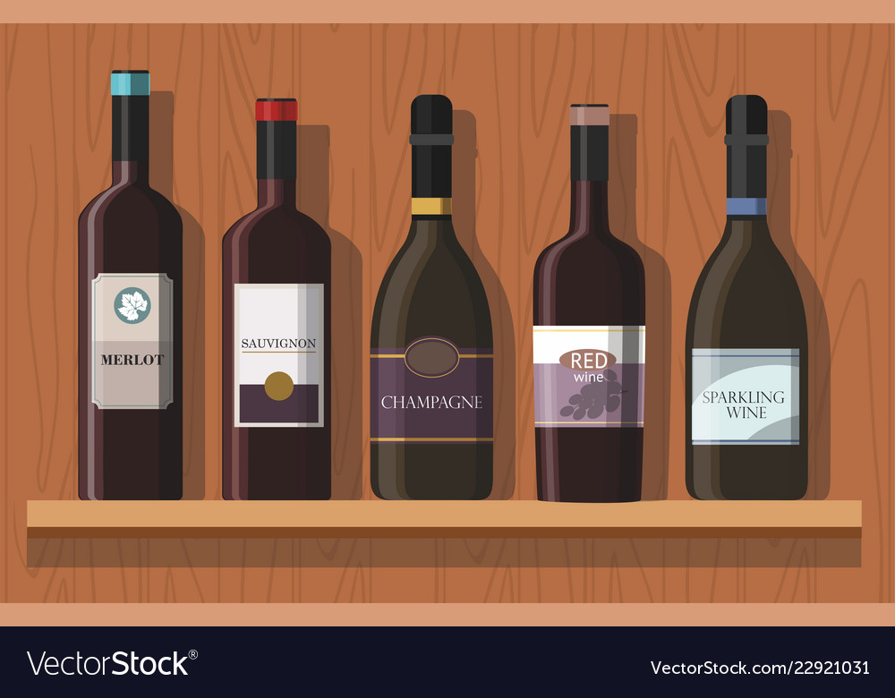 Bottles of wine are on the shelf