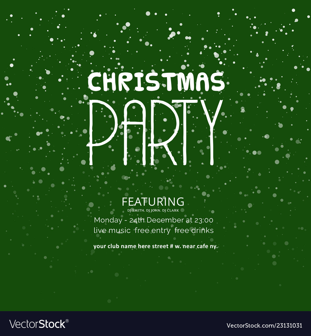Christmas party green snowflake background
