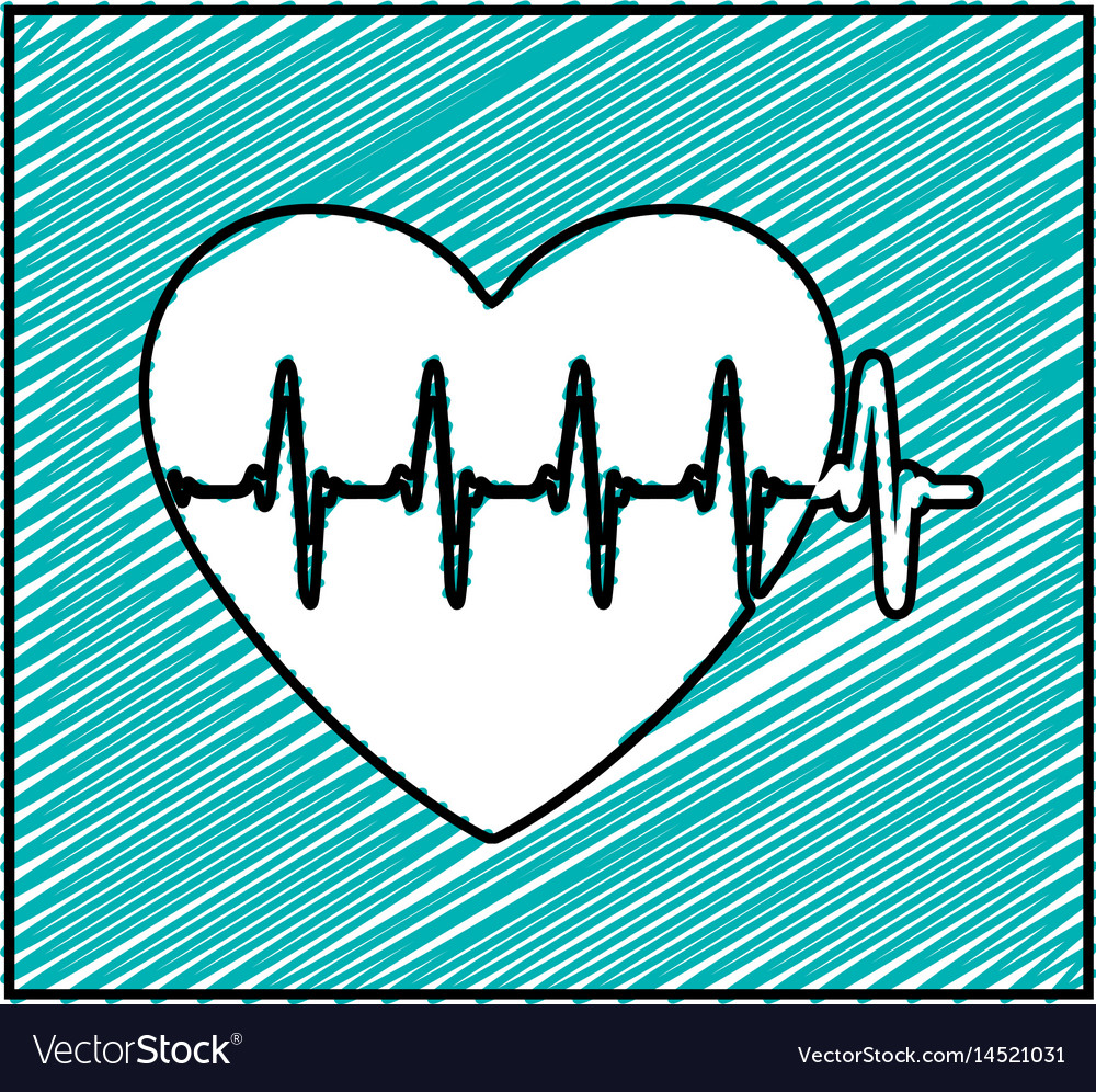 Color Pencil Drawing Square Frame With Heartbeat Vector Image