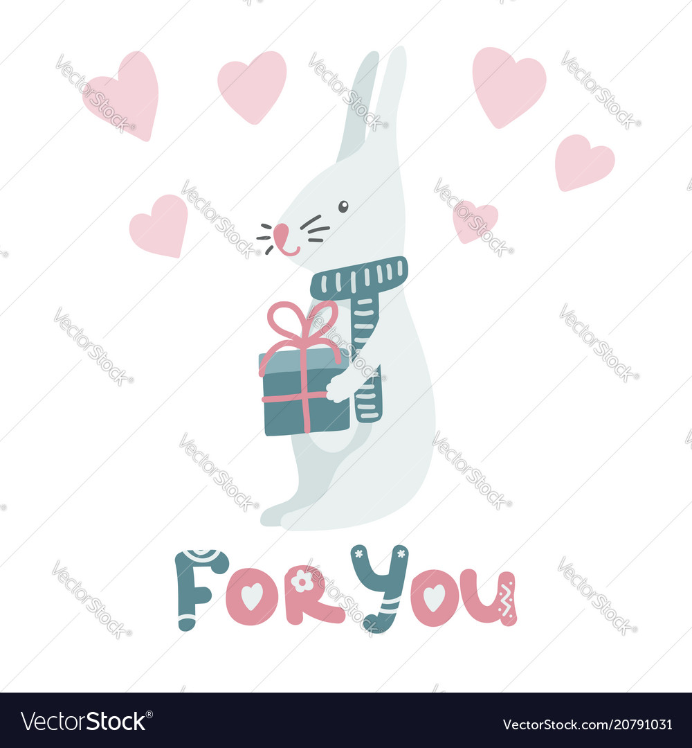 Cute cartoon bunny on white background with gift