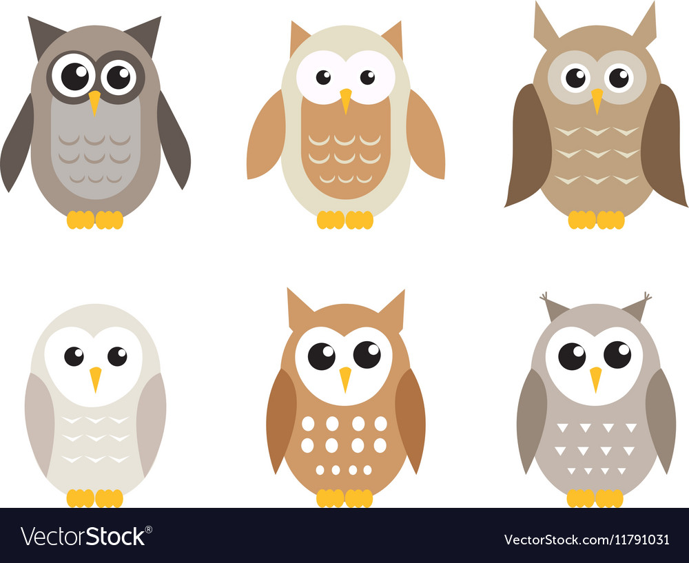 Cute cartoon owl set Owls in shades of gray