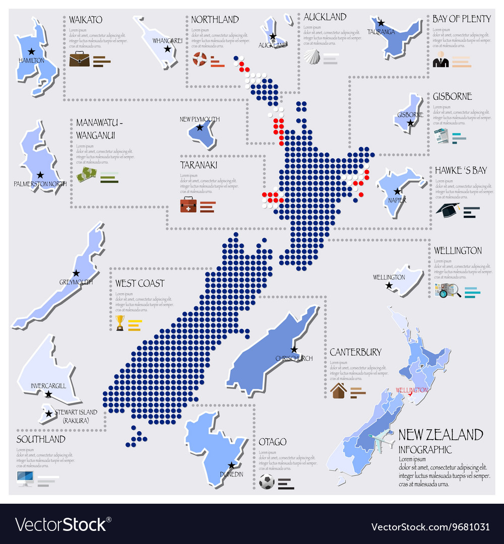 New Zealand Map Pdf.Dot And Flag Map Of New Zealand Infographic Design