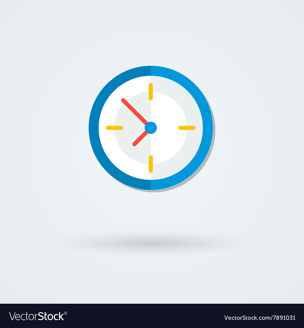 Flat clock icon Simple