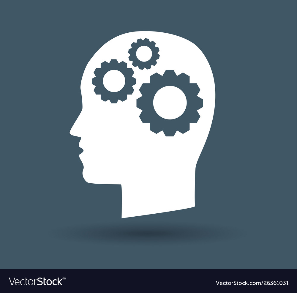 Gear in head icon on white background