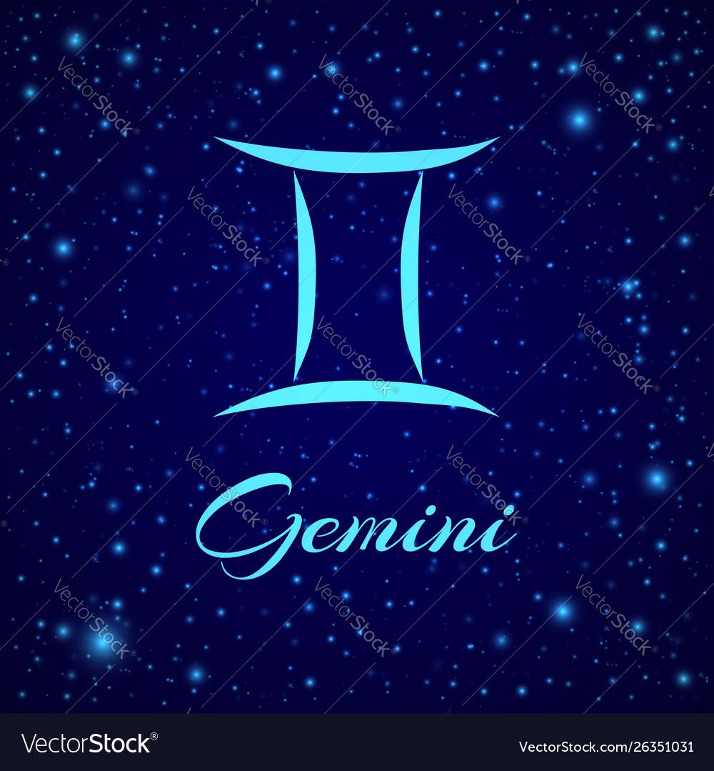 Gemini zodiac sign on a night sky