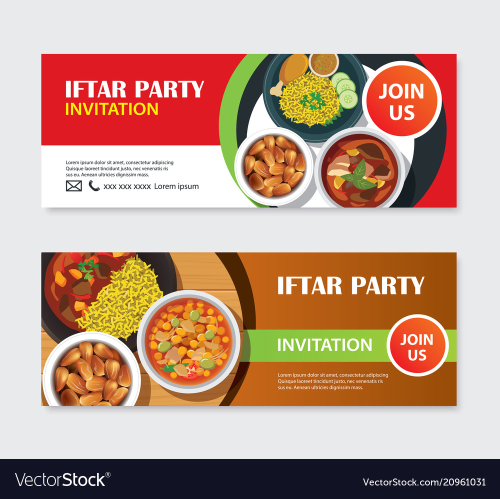 Iftar Party Invitations Greeting Card And Banner Vector Image
