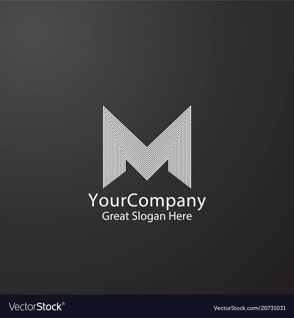 Letter m logo design for fashion brand initial vector image
