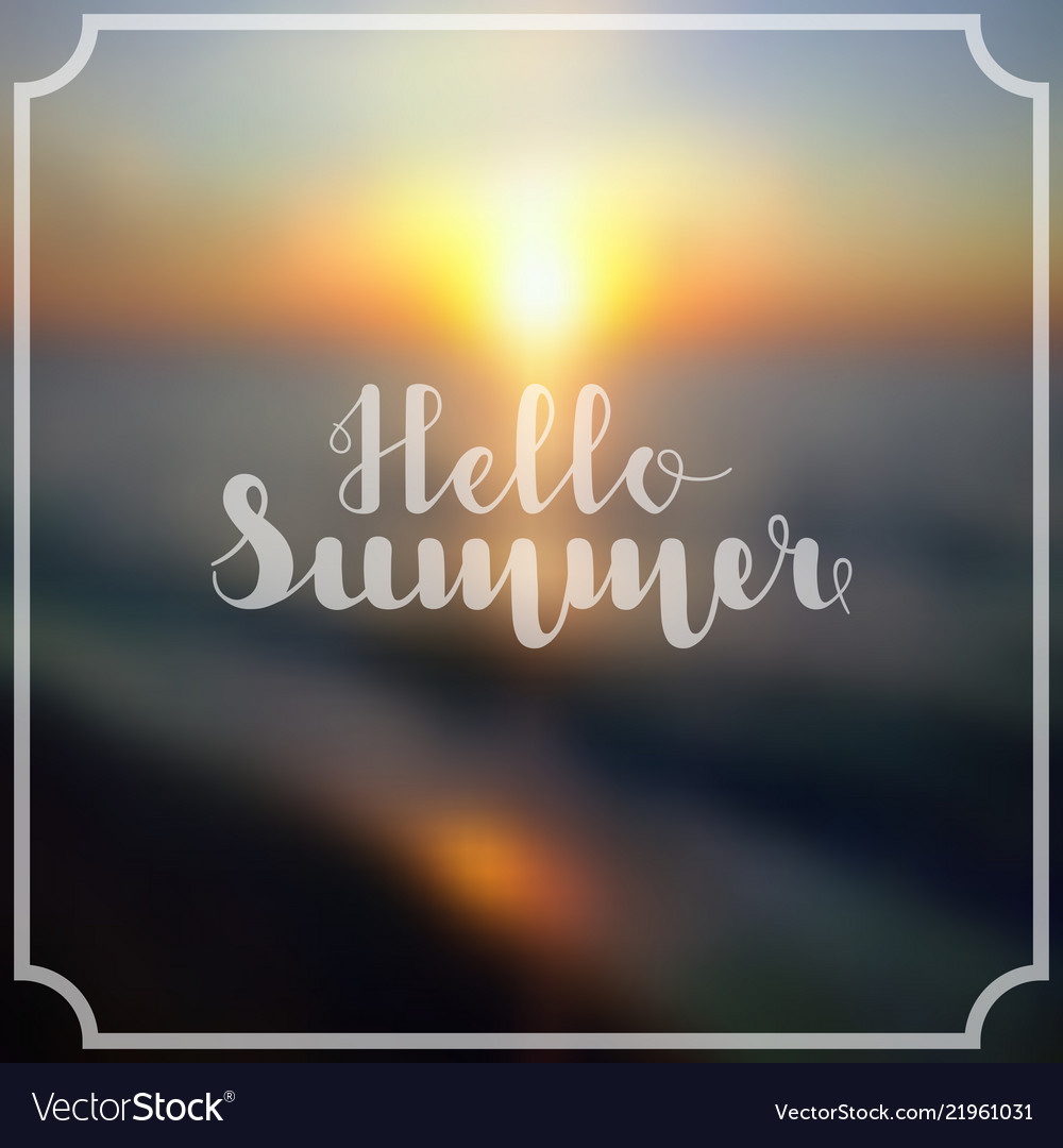 Lettering hello summer in white color on abstract