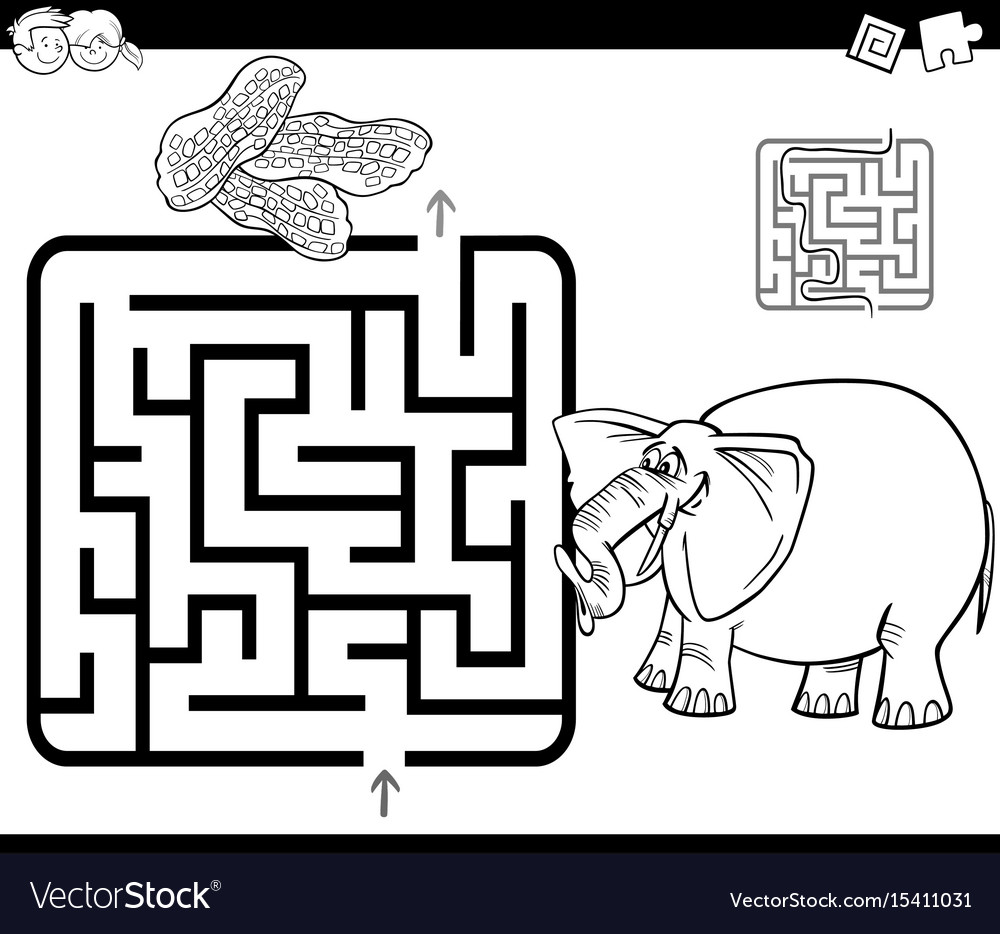 Maze with elephant coloring page Royalty Free Vector Image