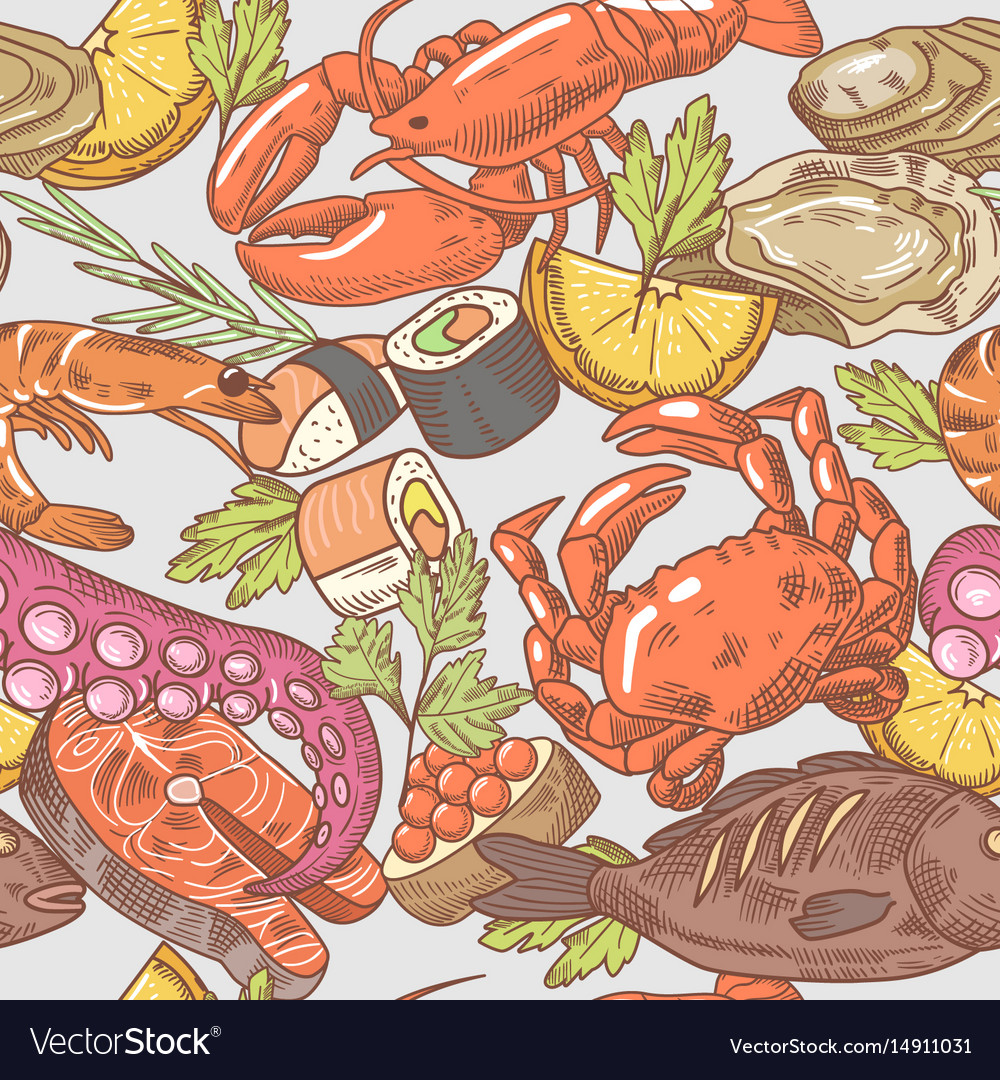 Sea food hand drawn seamless pattern background