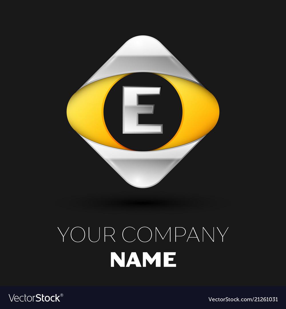 Silver letter e logo in the silver-yellow square