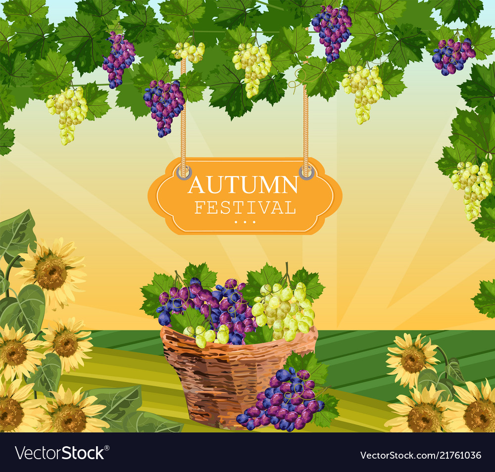 Autumn festival wood sign wine grapes